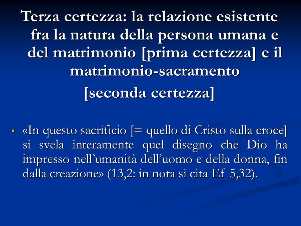 Terza certezza: la relazione esistente fra la natura della persona umana e del matrimonio [prima certezza] e il matrimonio-sacramento